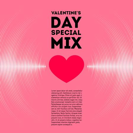 sonido: Tarjeta del día de San Valentín con pistas de vinilo de color rosa y corazón rojo Vectores