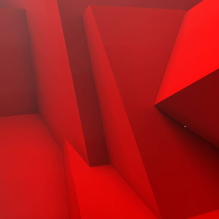 polygons: Abstract background with realistic overlapping red cubes