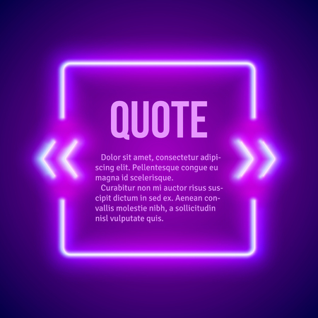 box design: Retro hipster neon glowing quote marks frame