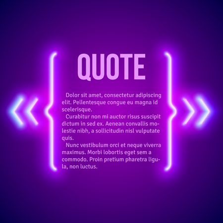 neon sign: Retro hipster neon glowing quote marks frame