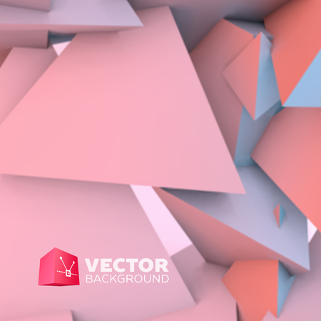 tetrahedron: Abstract background with overlapping rose quartz and serenity pyramids Illustration