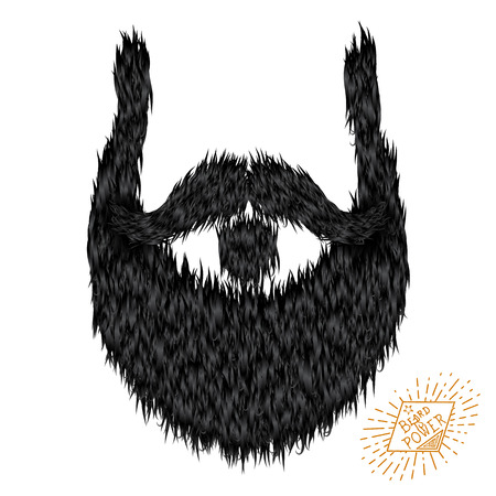 style goatee: Hairy curly hipster strong beard drawing with label Illustration