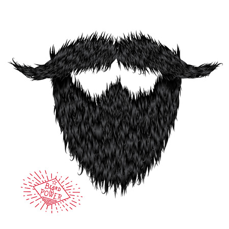 hairy: Hairy curly hipster strong beard drawing with label Illustration