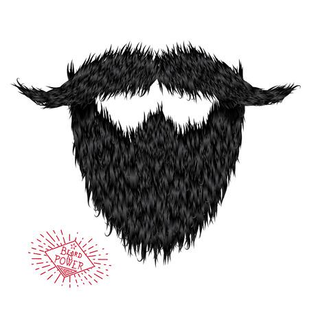 Harige krullend hipster sterke baard tekenen met label