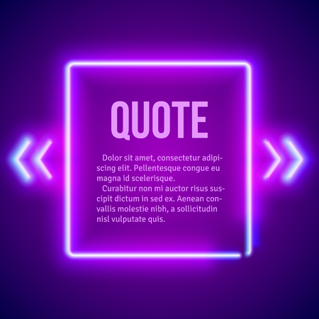 Retro hipster neon glowing quote marks frame