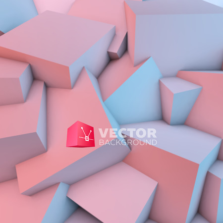 serenity: Abstract background with overlapping rose quartz and serenity cubes