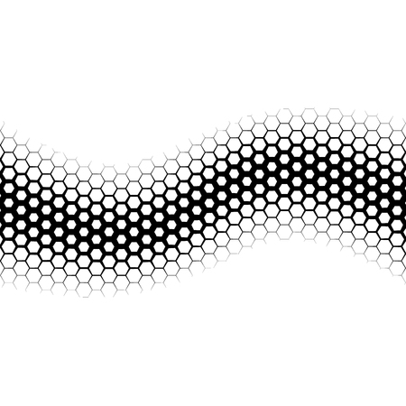 geometric lines: Background with gradient of monochrome hex grid