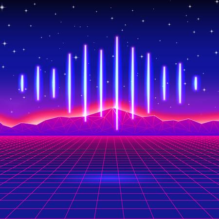 fiestas electronicas: Fondo retro de neón de juego con la onda de la música Vectores
