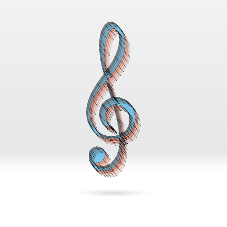 3d music: Transparent 3D music key with dotted wire scheme