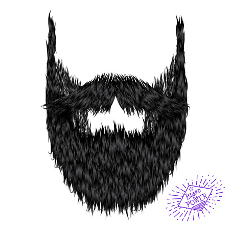 rogue: Hairy curly hipster strong beard drawing with label Illustration