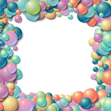 circle objects: Background with scatterd messy glowing rubber balls Illustration