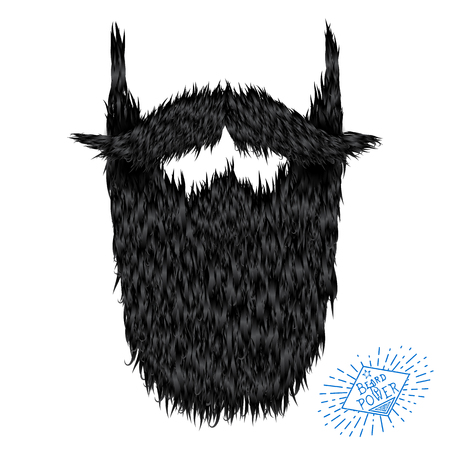 goatee: Hairy curly hipster strong beard drawing with label Illustration