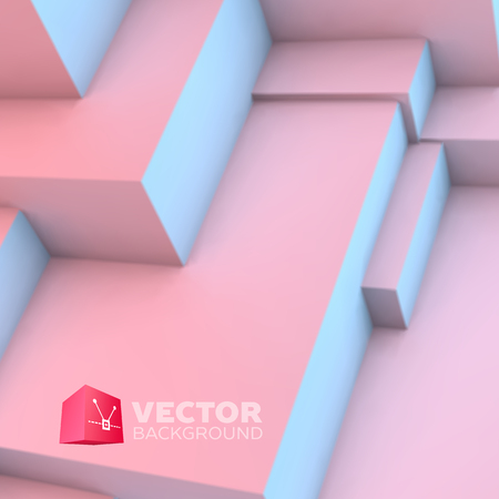 futuristic wallpaper: Abstract background with overlapping rose quartz and serenity cubes