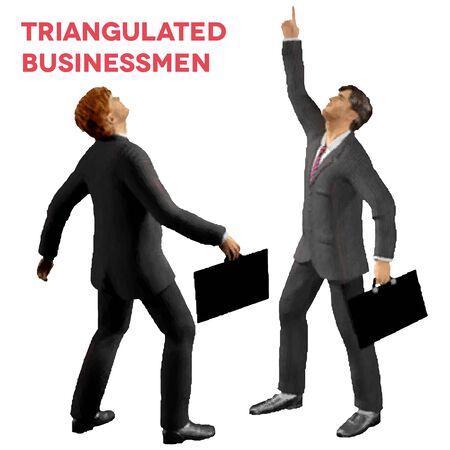 Dreieckige Stil isoliert Geschäftsleute mit Fällen Nachschlagen