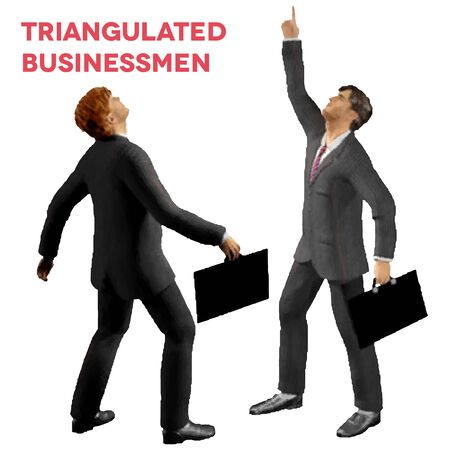 Triangular style isolated businessmen with cases looking up