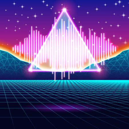 Fondo retro de neón de juego con la onda de la música