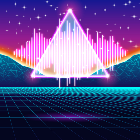 electronic 80s: Retro gaming neon background with music wave