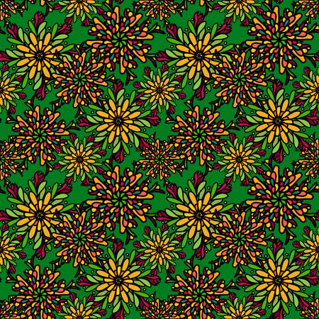 Seamless pattern with colorful drawn mandala flowers
