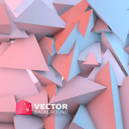 quartz crystal: Abstract background with overlapping rose quartz and serenity pyramids Illustration
