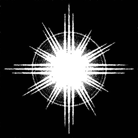 Retro dotwork sunburst or flare with rays