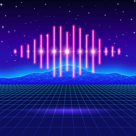 Retro-Gaming-Neon-Hintergrund mit Musik Welle