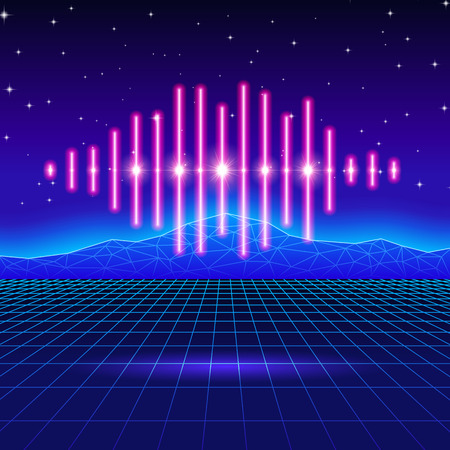 Retro gaming neon background with music wave