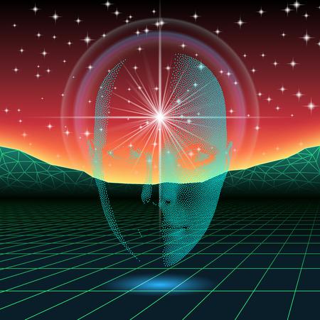 La onda retro brillante silueta de la cabeza sobre el paisaje de neón Ilustración de vector