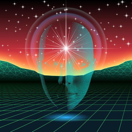 metaphysical: Retro wave shiny head silhouette over neon landscape Illustration