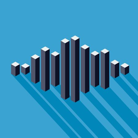 peak: Flat isometric music wave made of peak lines Illustration