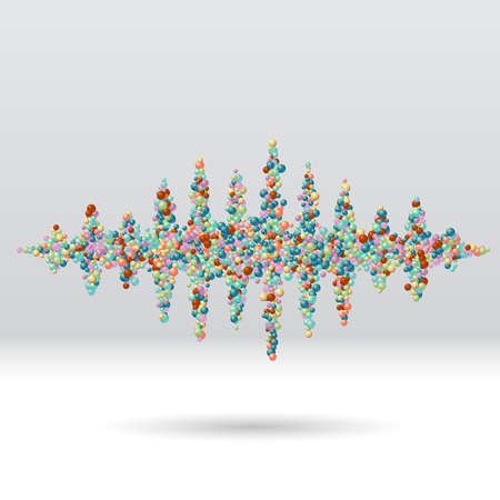 sine wave: Sound waveform made of chaotic scattered colorful balls