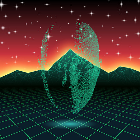 90s: Retro wave shiny head silhouette over neon landscape Illustration