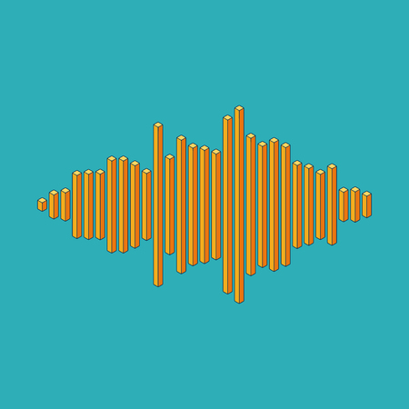 vibrations: Flat isometric music wave made of peak lines Illustration