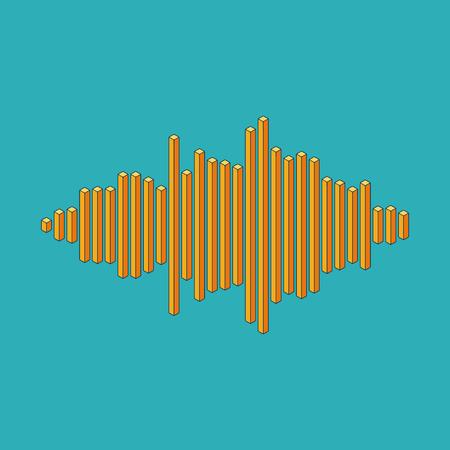 Flat isometric music wave made of peak lines Illustration
