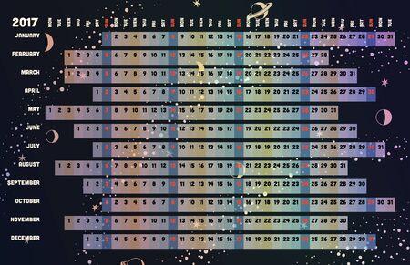 desk calendar: Linear calendar 2017 with days color coding