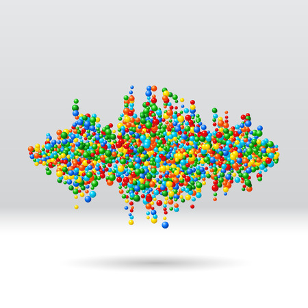 Sound waveform made of chaotic scattered colorful balls