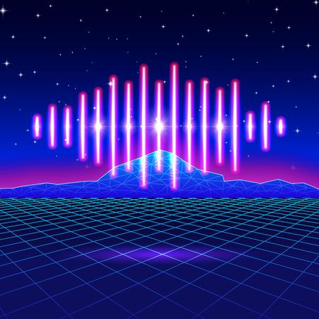 Fondo retro de neón de juego con la onda de la música Ilustración de vector