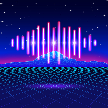 grids: Retro gaming neon background with music wave
