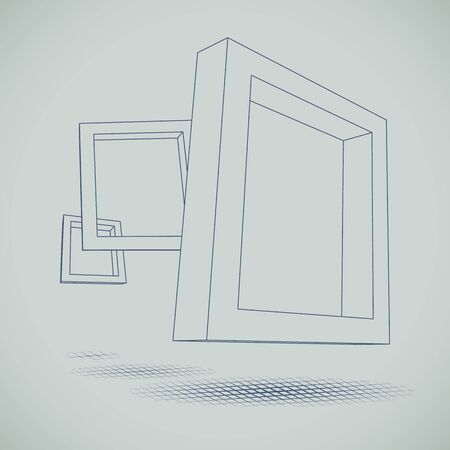 Three Schematic Rectangular 3d Frames For Your Presentation Royalty