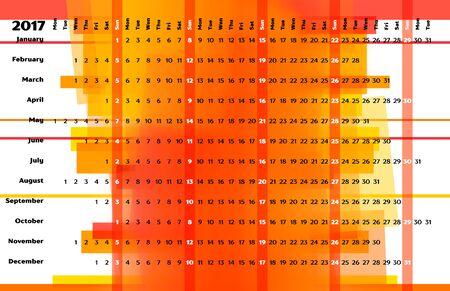 table calendar: Linear calendar 2017 with days color coding. Sea themed calendar