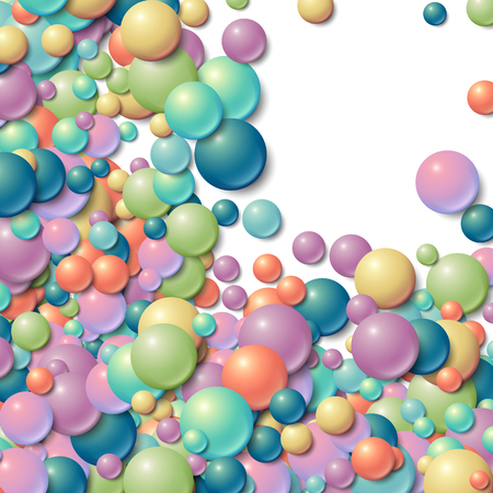 blue glass: Background with scattered messy glowing rubber balls Illustration