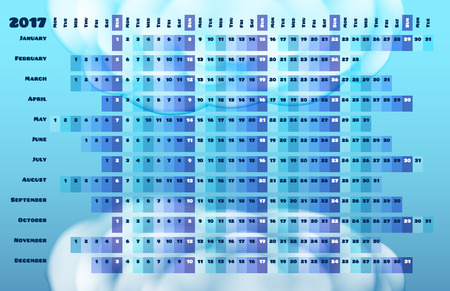 days: Linear calendar 2017 with days color coding