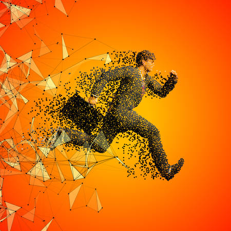 sprayed: Running businessman figure made of scattered balls. Triangles and dots background