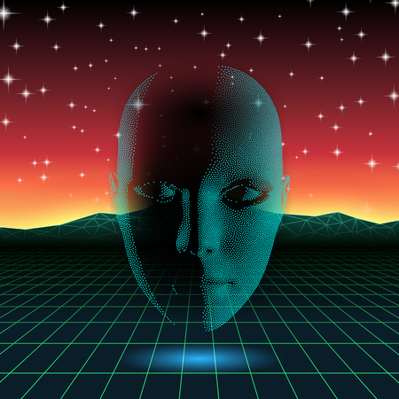 the mind: Retro wave shiny head silhouette over neon landscape Illustration