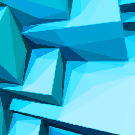 abstract cubes: Poster with abstract blue ice cubes and posterized colors