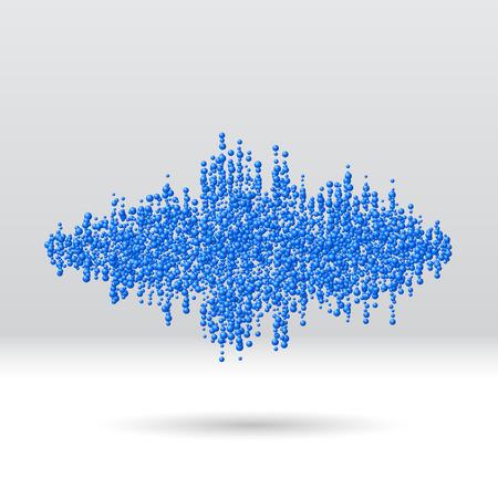 Sound waveform made of chaotic scattered blue balls