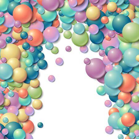 infancia: Fondo con las bolas de goma brillantes desordenado dispersas Vectores