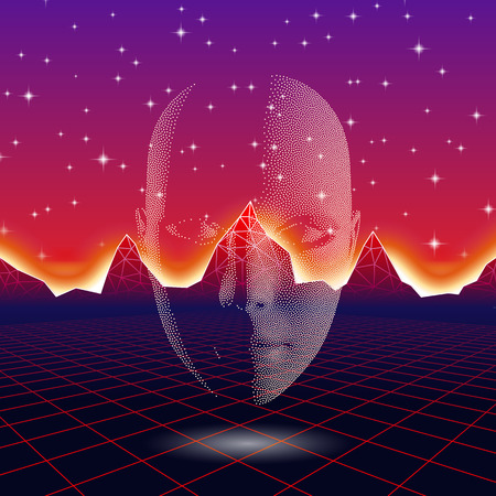 Rétro vague brillante tête silhouette sur le néon paysage Vecteurs