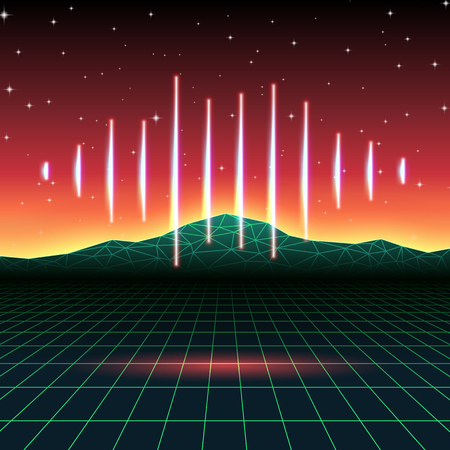 90s: Retro gaming neon background with music wave