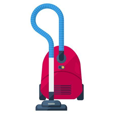 vac: Vacuum cleaner flat icon. Red dustsucker.
