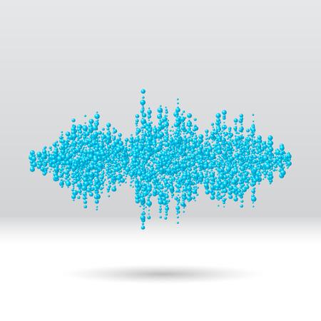 dubstep: Sound waveform made of chaotic scattered blue balls